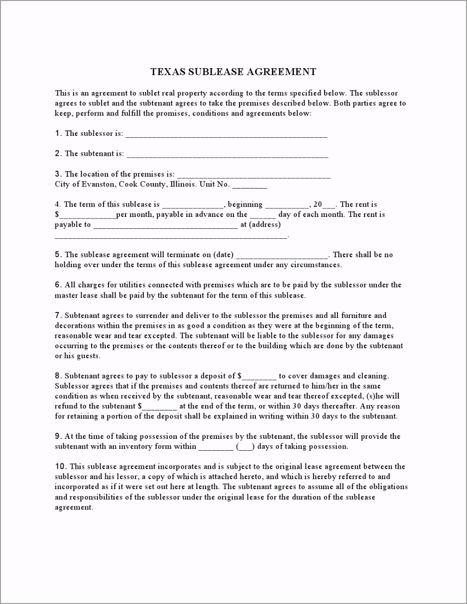Texas Sublease Agreement uiseu