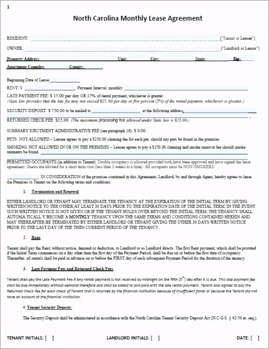 north carolina month to month rental agreement template waqpr