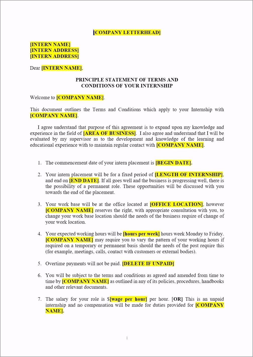 internship agreement template image owiut