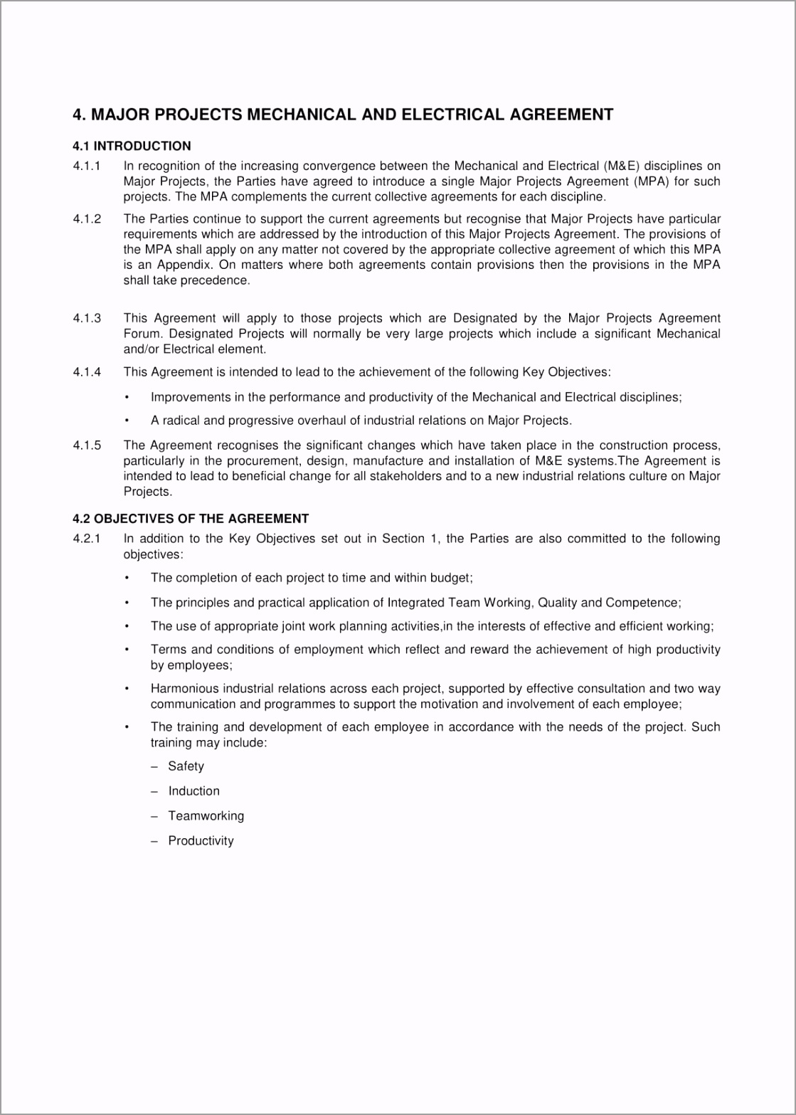 Mechanical and Electrical Agreement Contract For Major Construction Projects Template Example 01 yapaw
