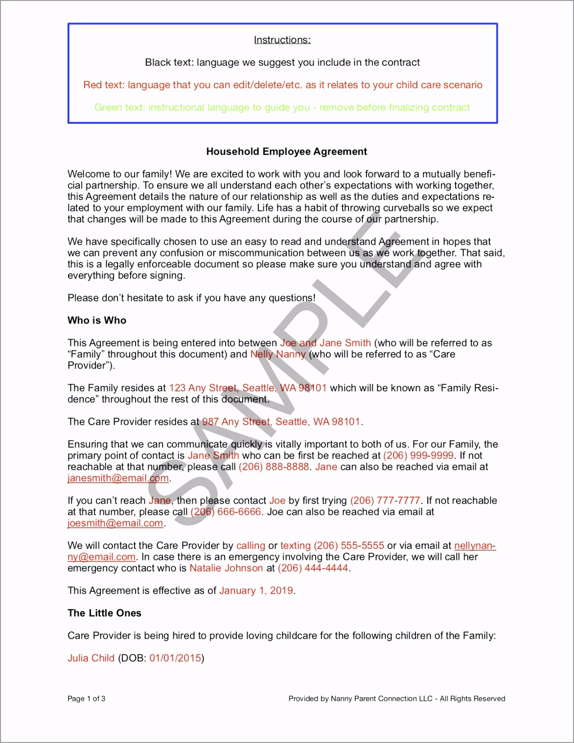 Household Employee Agreement Nanny Parent Connection LLC July 2019 Update SAMPLE Page 1 uwirr