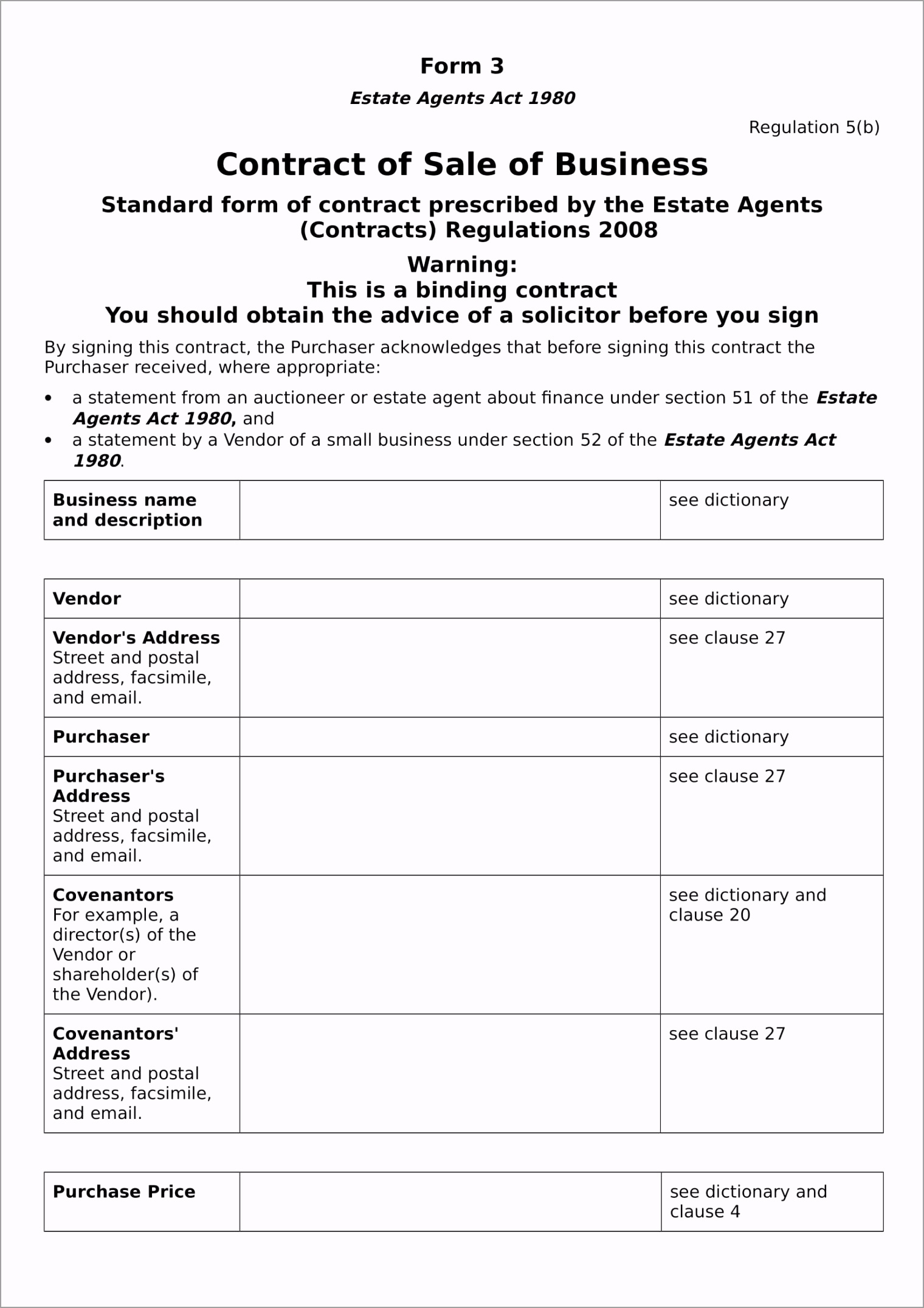 Business Sale Contract Form in DOC 01 errri