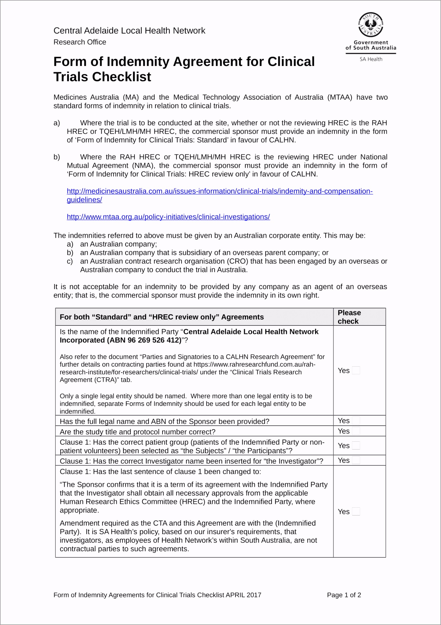 Clinical Trial Indemnity Agreement Contract Form 1 uqiju