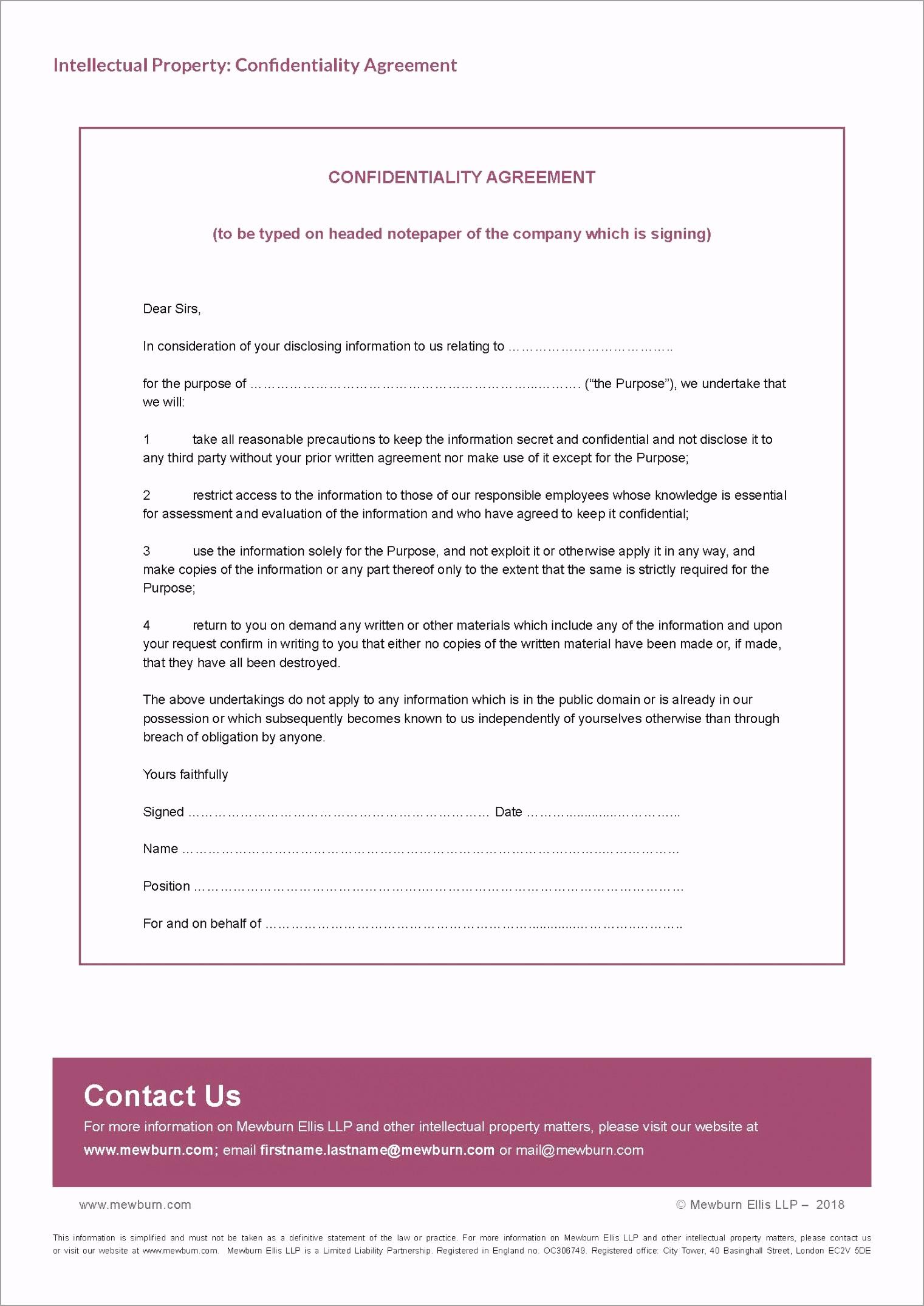 IP Confidentiality Agreement eytoy
