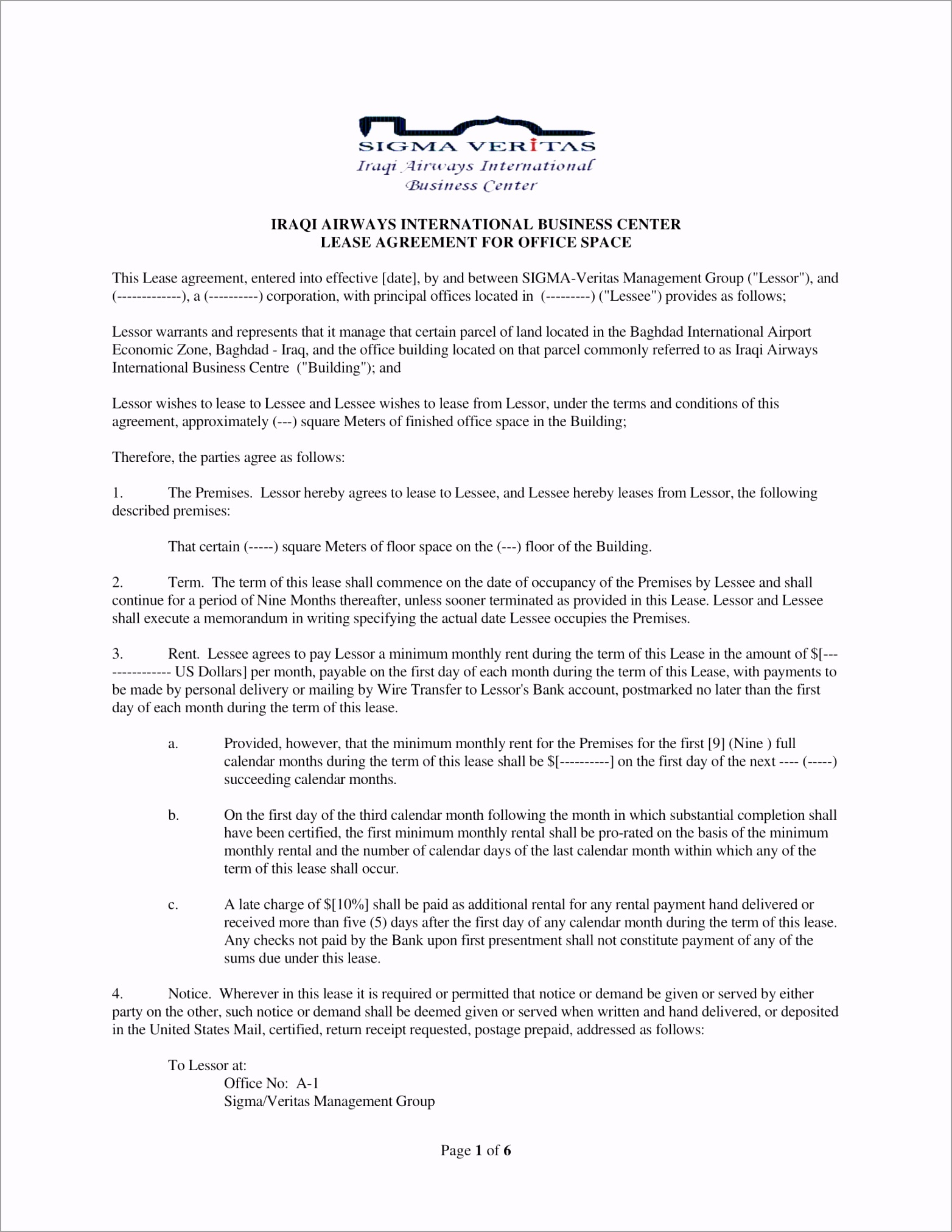 Business Center fice Lease Agreement Contract Form 1 rpmei