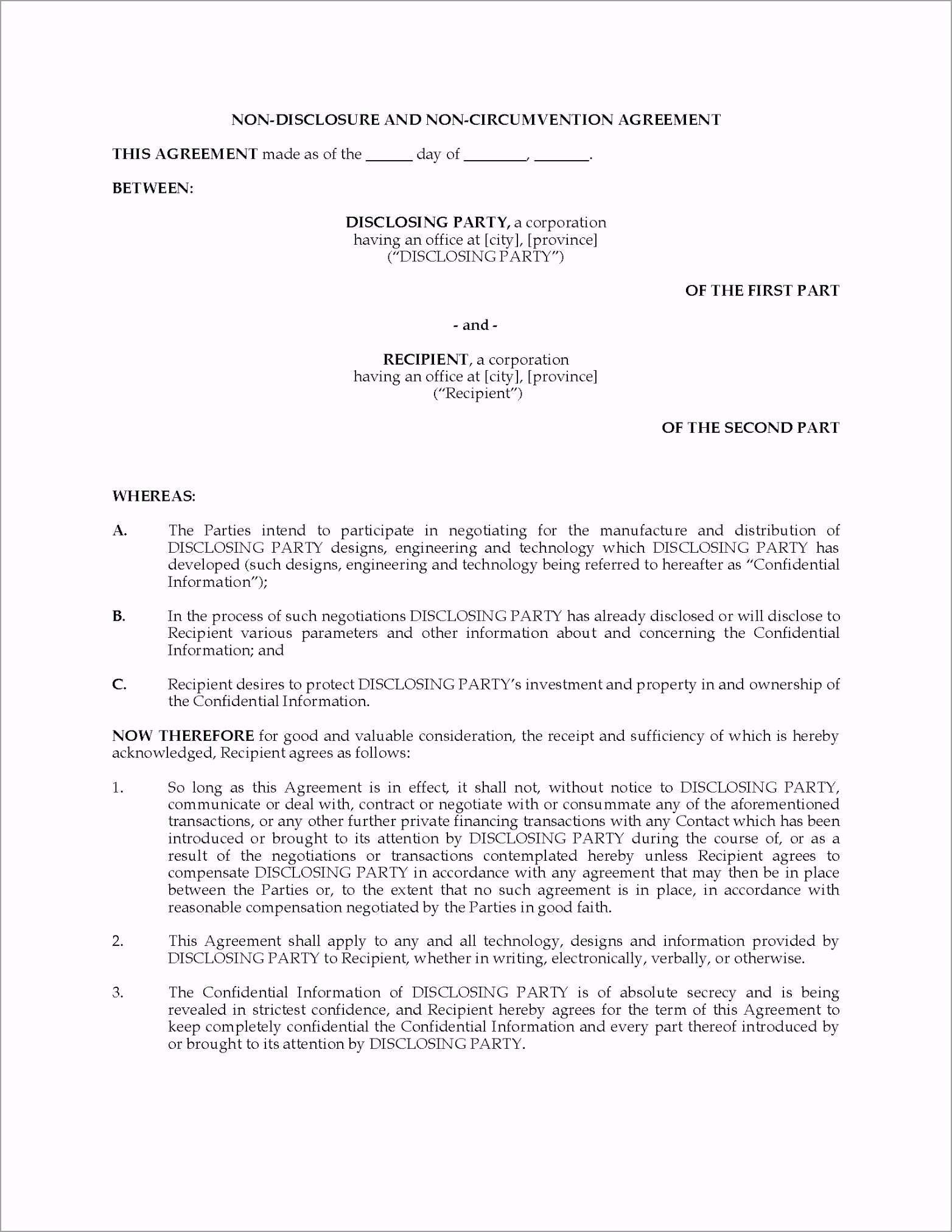 nondisclosure and noncircumvention agreement for manufacturing venture aueau