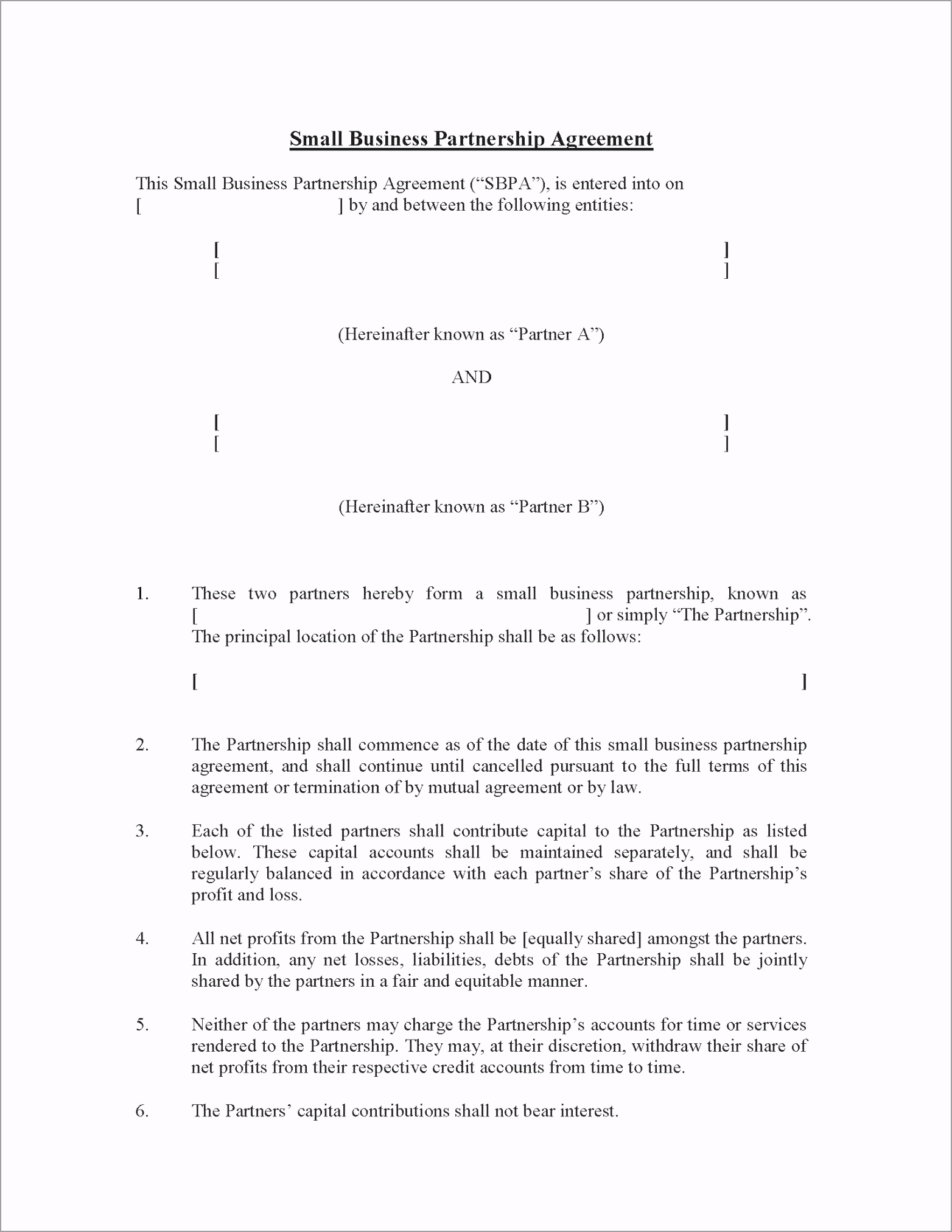 small business partnership agreement basic template free simple general ptqpi