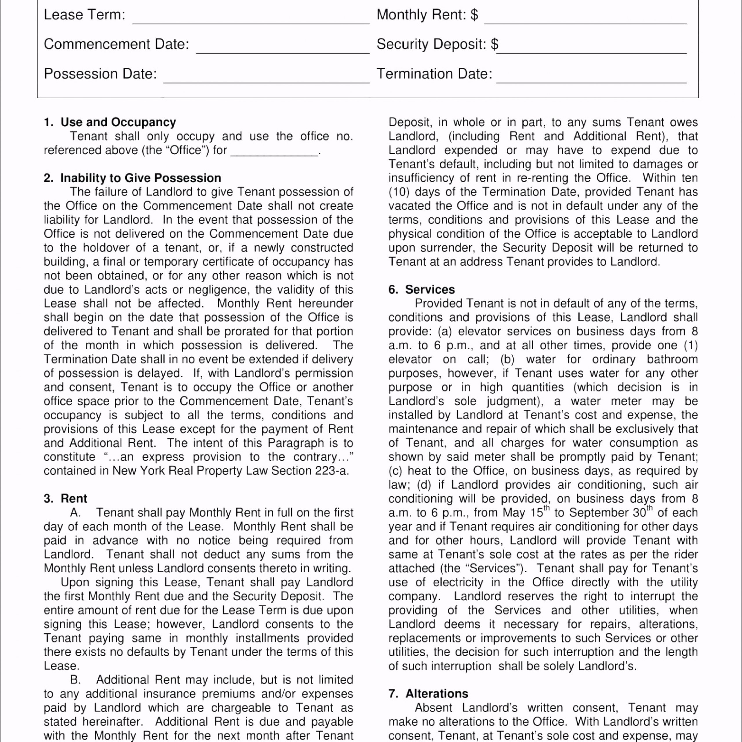 free 5 office lease agreement contract forms in landlord tenant template ontario form atpry