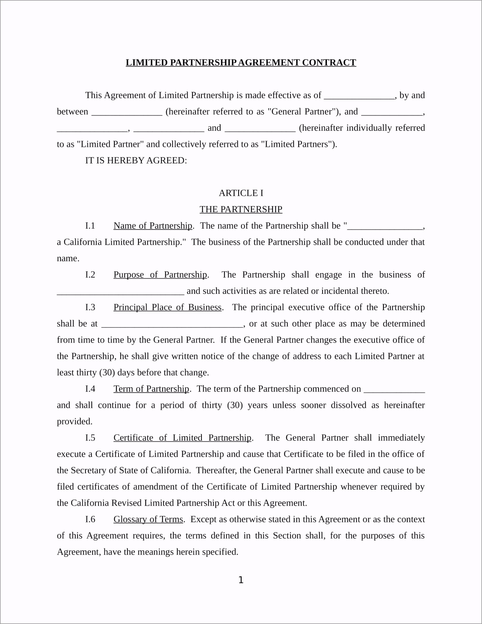 Limited Partnership Agreement Contract Form in DOC 01 iwooo