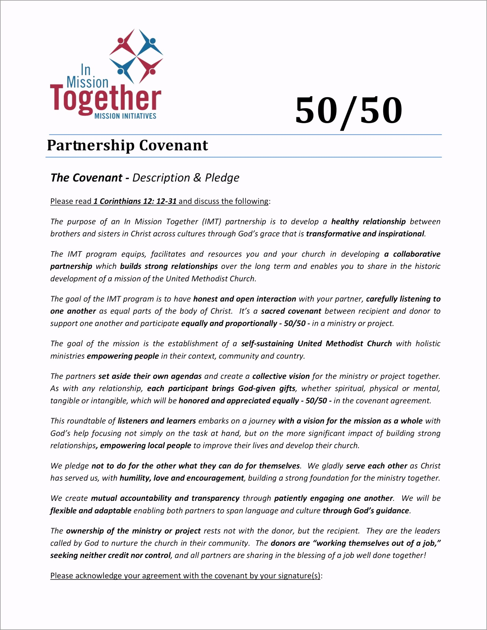 IMT 50 50 Partner Covenant pmuiw