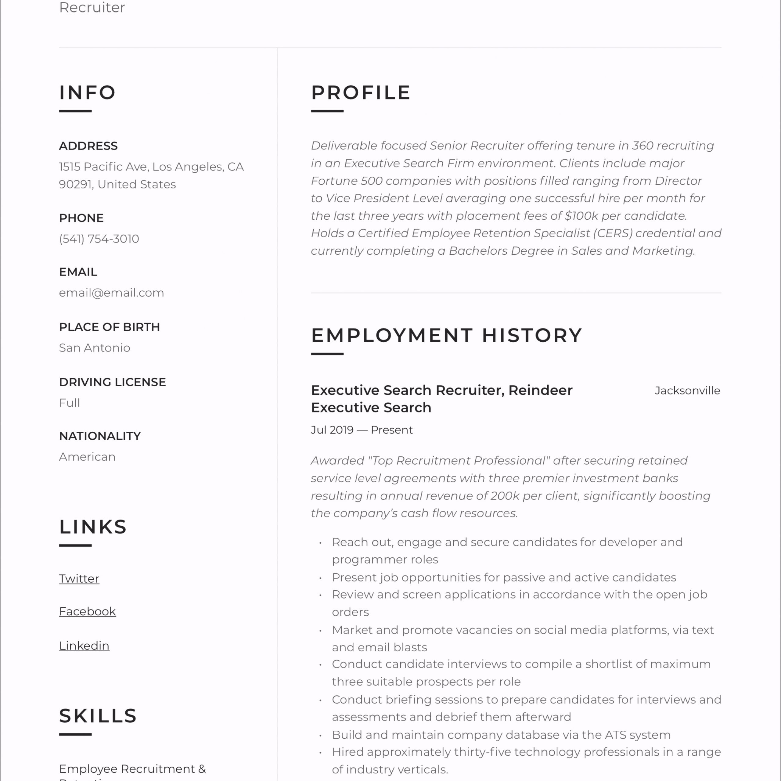 Recruiter Resume 11 riuew