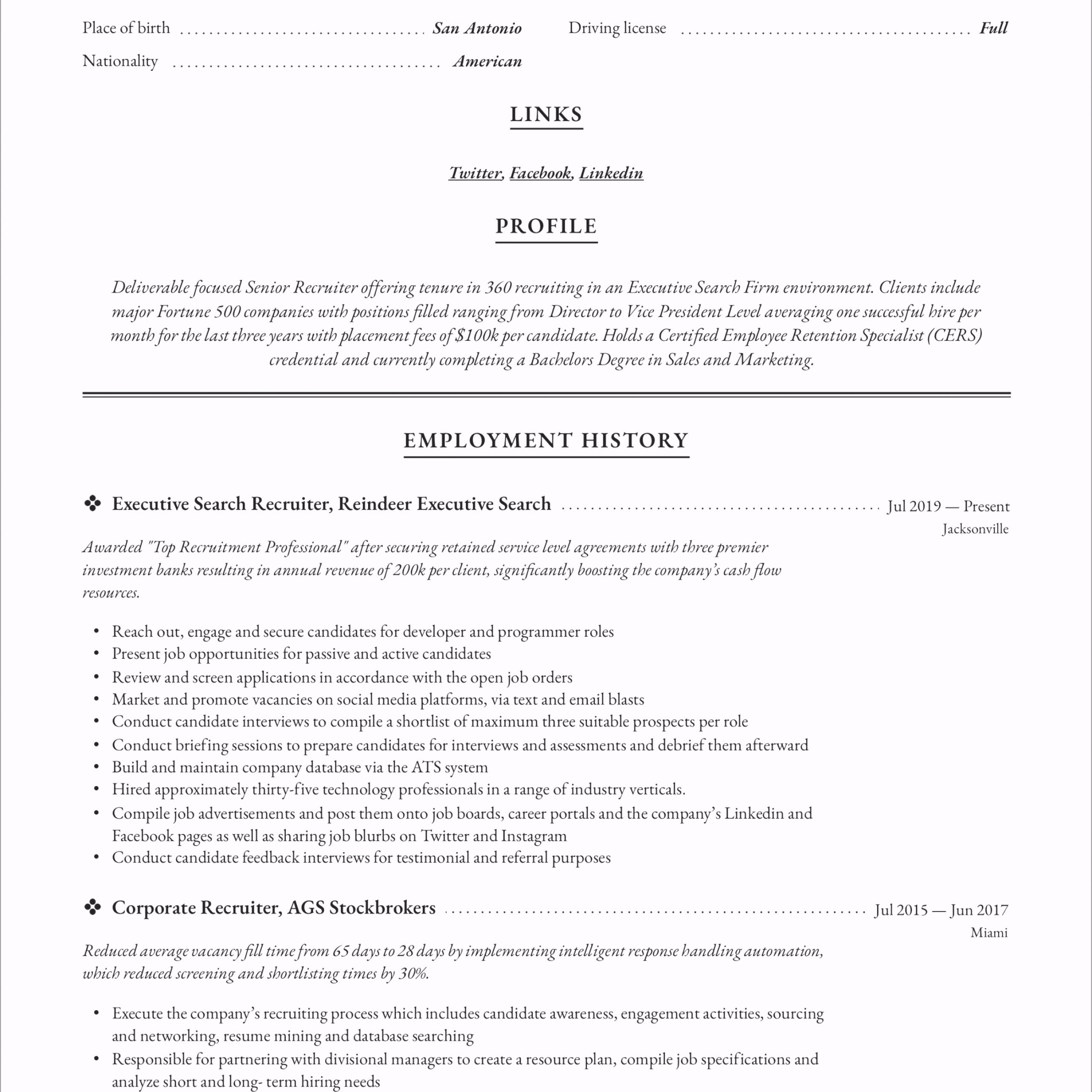 Recruiter Resume 3 opfwr