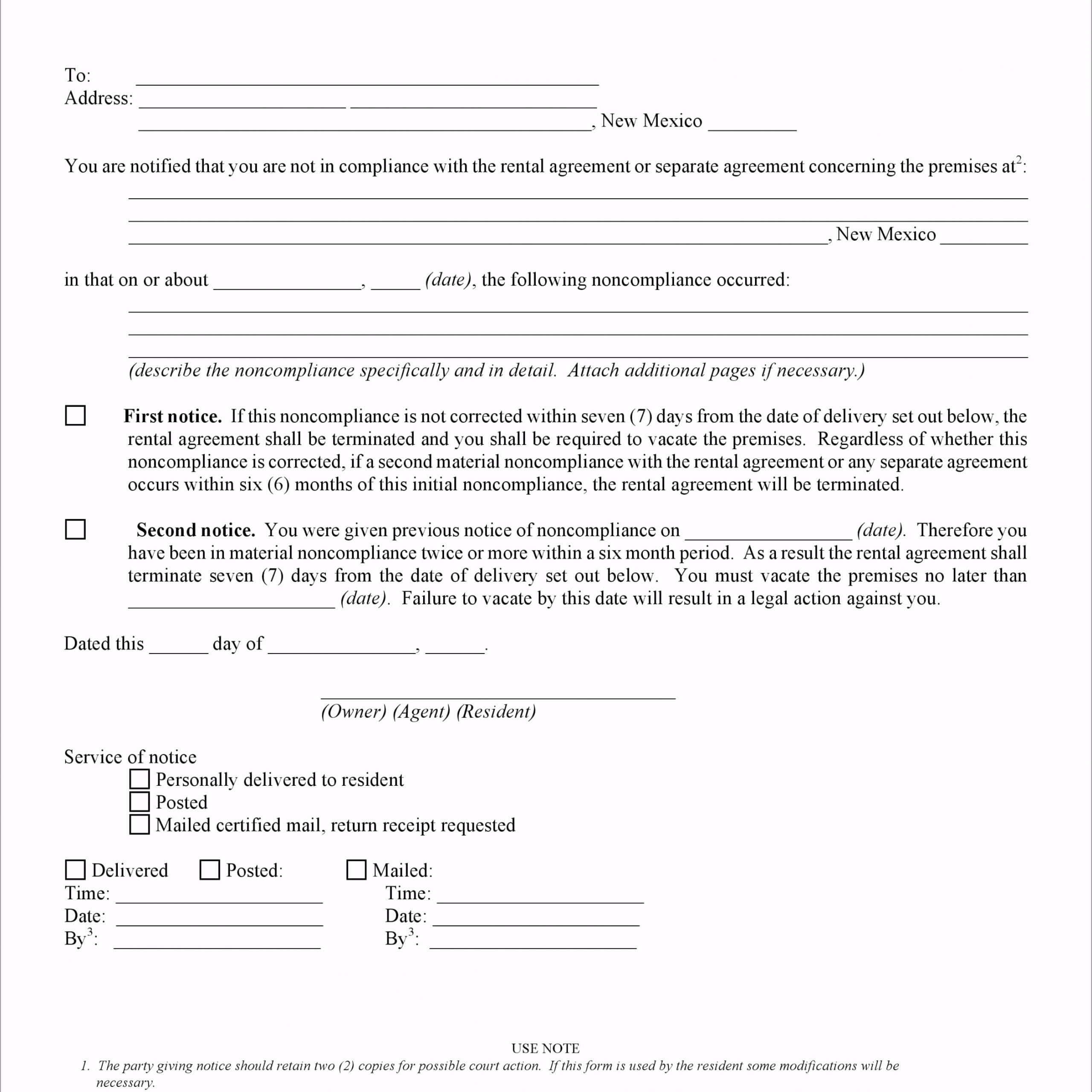 new mexico 30 day notice to terminate rental agreement oehra