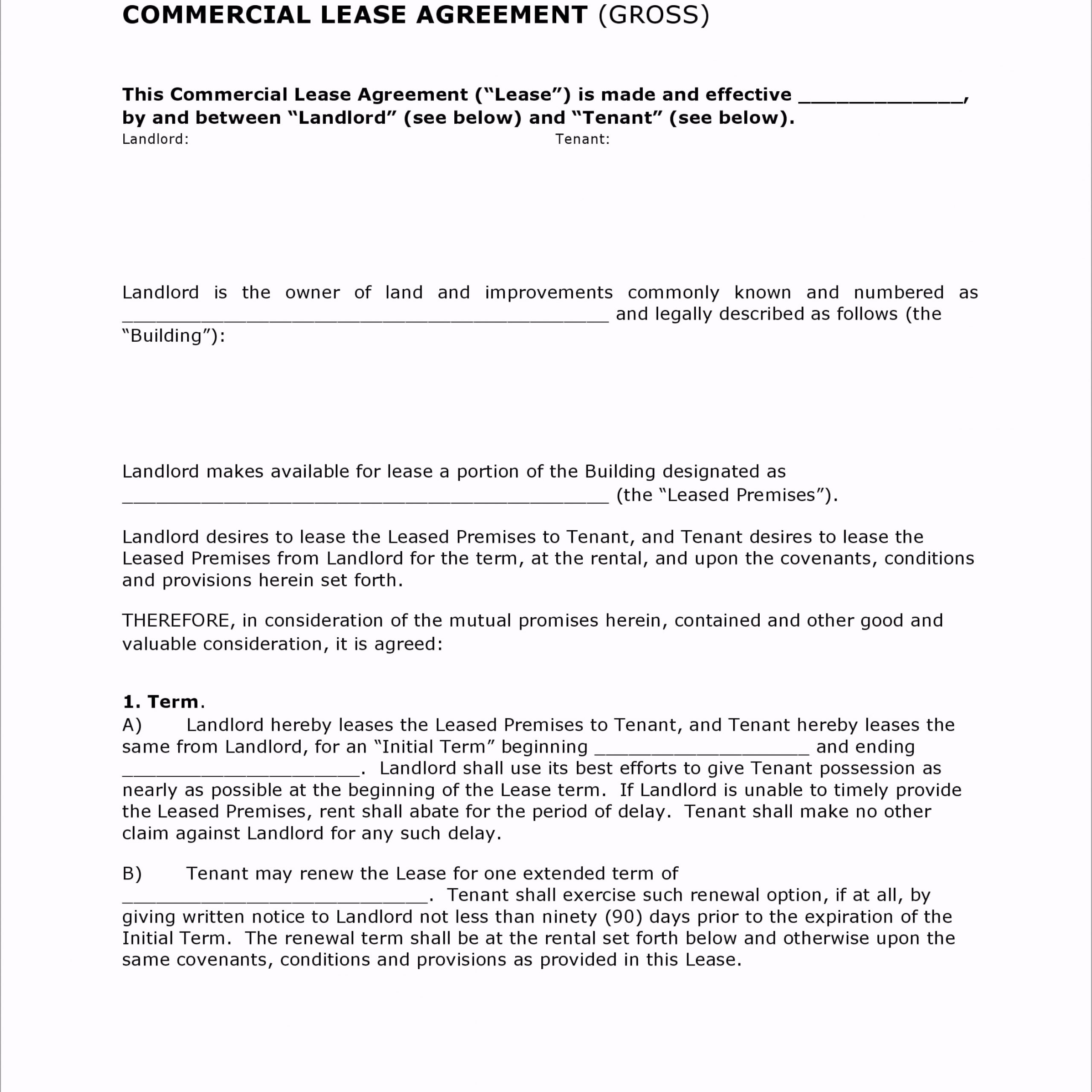 General Gross mercial Lease Agreement tpyoo