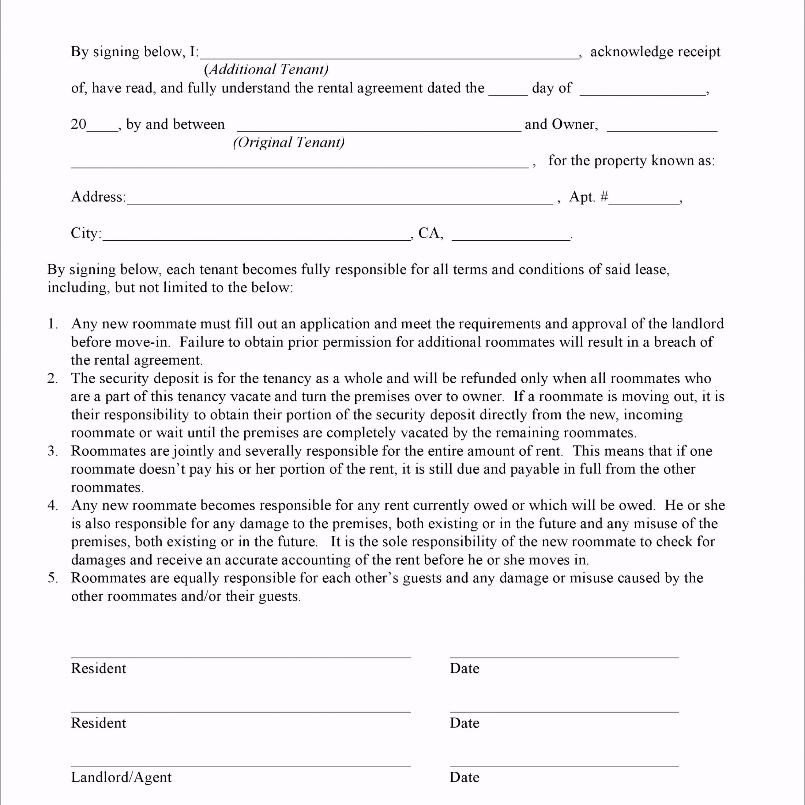 California Additional Tenant Addendum to Rental Agreement eayyo