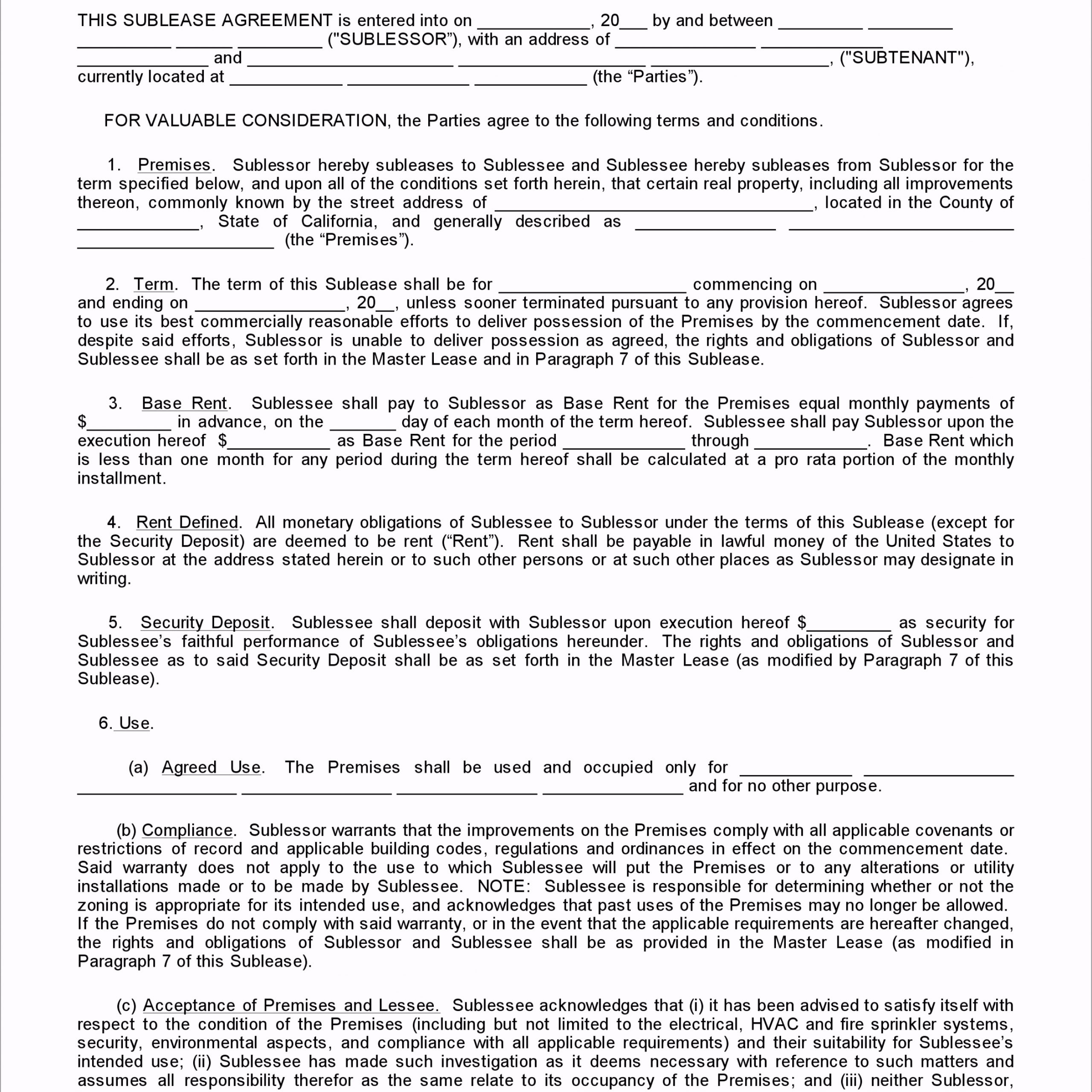 California Sublease Agreement ewuwy