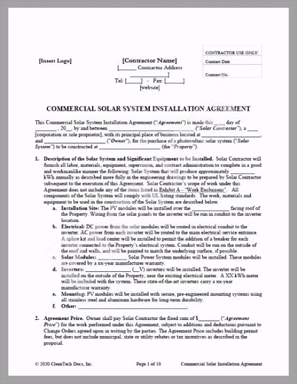CleanTech Docs mercial Solar Installation Agreement CA grande olyyu