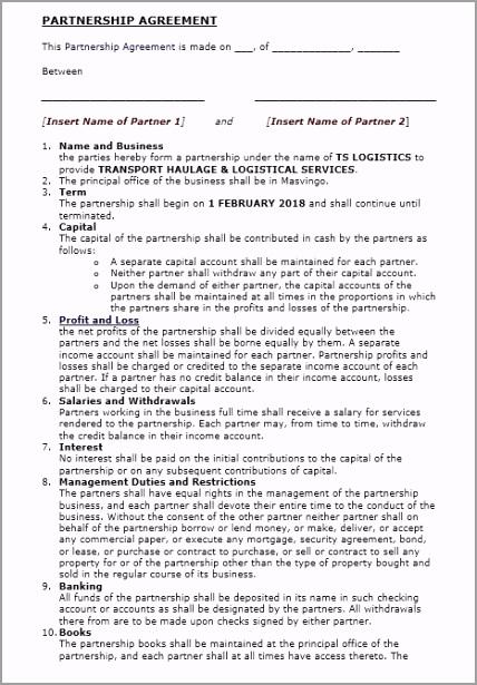 Partnership Agreement Template 1 aphuu