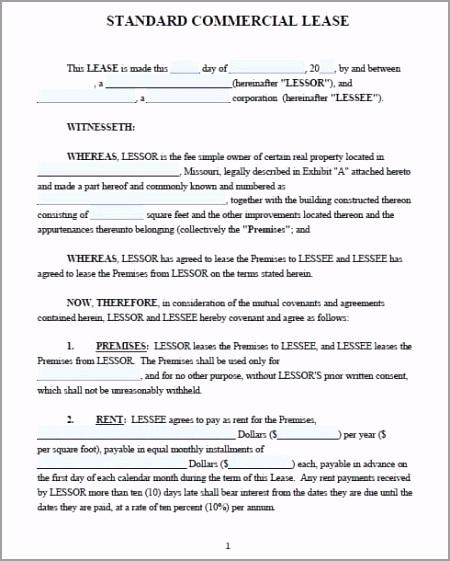mercial lease agreement missouri mercial lease agreement pecet