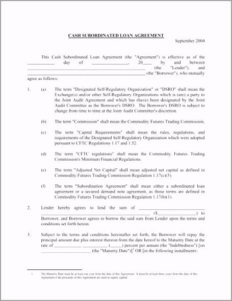 sample cash subordinated loan agreement euqie