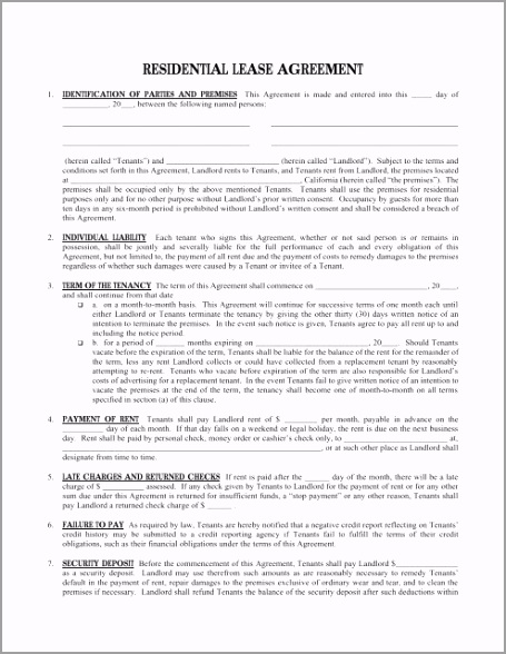 residential lease agreement free legal forms ouapt