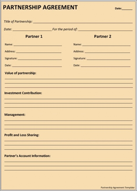 Partnership Agreement Template isrti