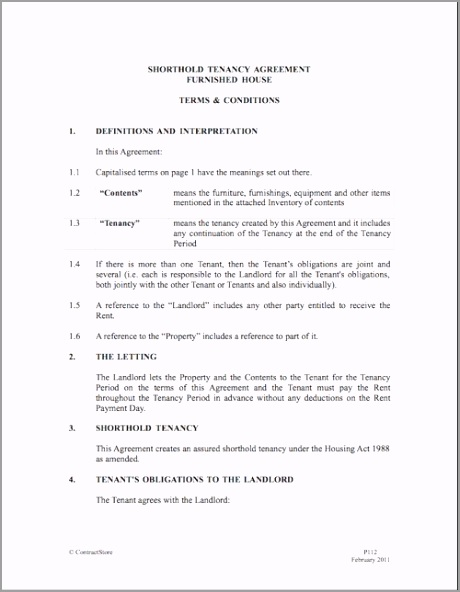 Terms Conditions Tenancy Agreement Example tutao