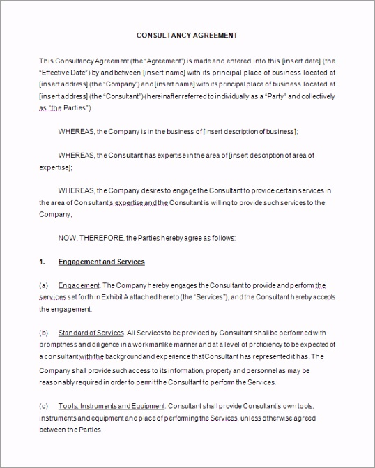 Consulting Contract Template Sample Free Download ttrou