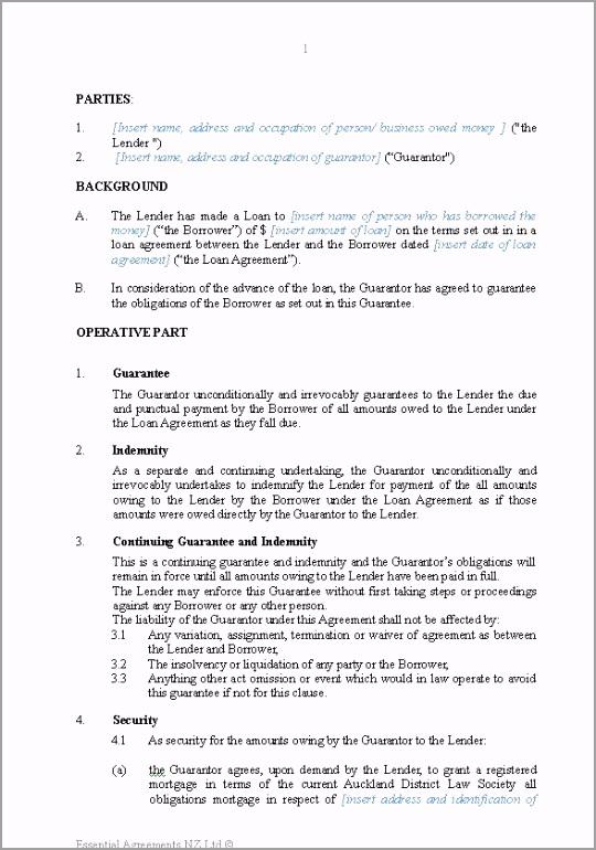 Guarantee of Loan Secured orouo