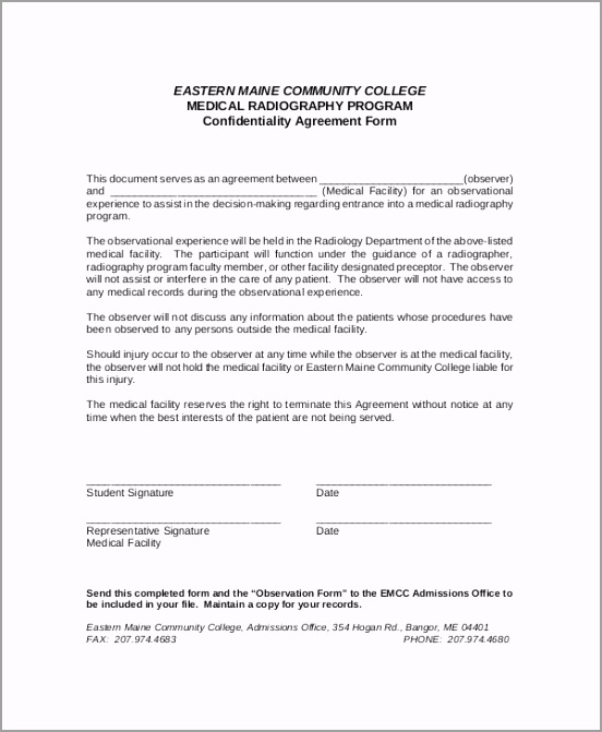 Medical Facility Confidentiality Agreement Sample igaeo