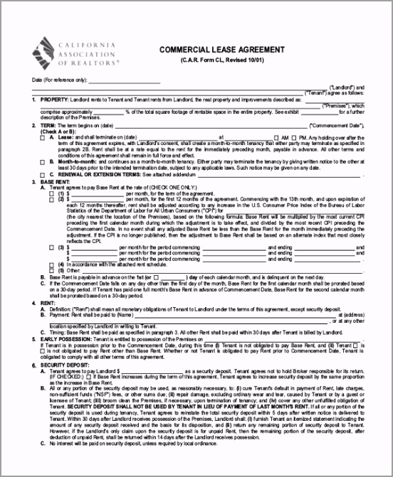 mercial lease agreement california california association of realtors c a r lease agreement template sample mercial agreement form 10 free documents in pdf doc template uiate
