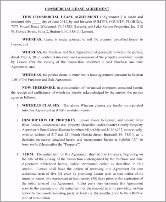 Standard mercial Lease Agreement Example yoada