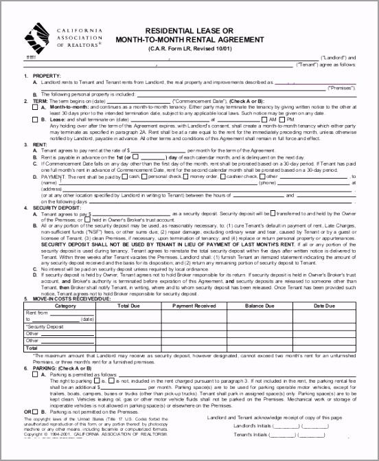 Blank Residential Lease Agreement wiotu