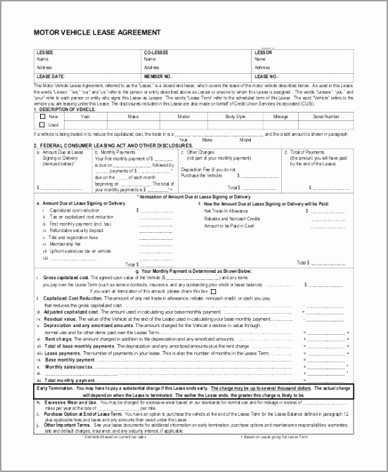 Vehicle Lease Purchase Agreement Form intnw