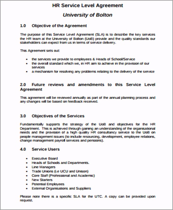 Hr Business Service Level Agreement epart