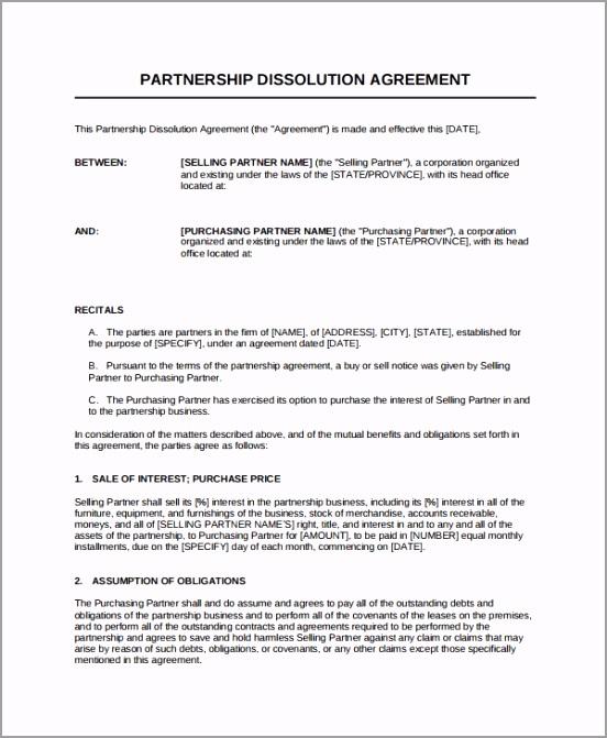 Business Partnership Dissolution Agreement Template ptfir