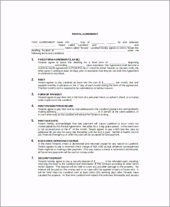 mercial Rental Lease Template toiew