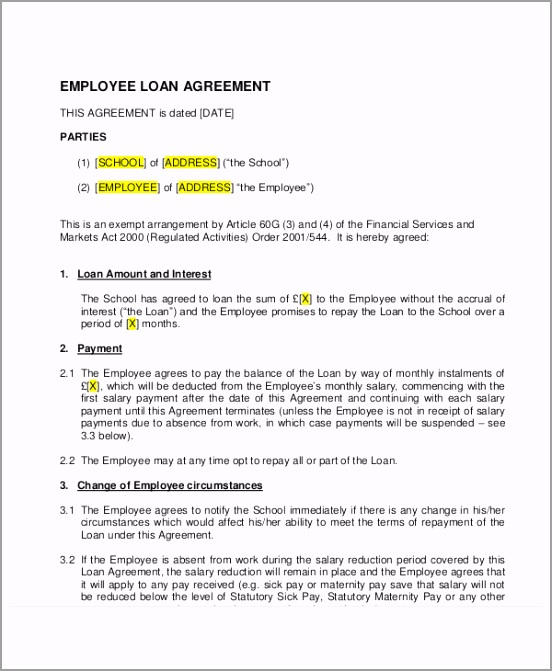 Employee Loan Agreement Example aaoee