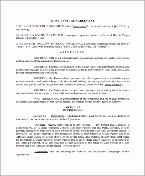 Texas Joint Venture Agreement Form Example rprog