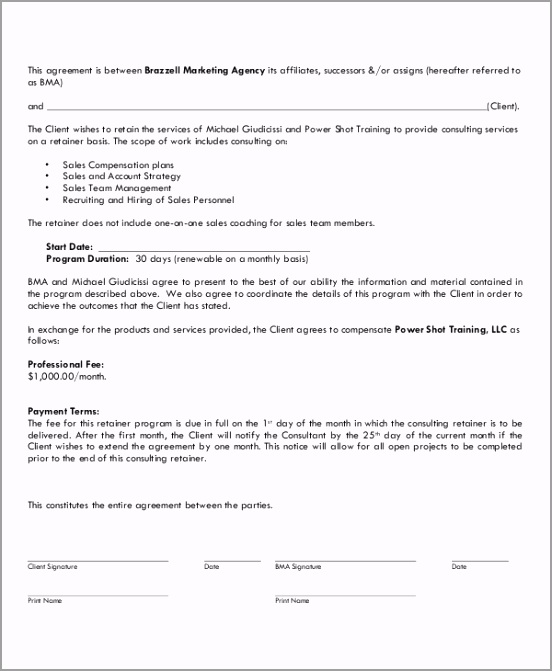 Marketing Consulting Retainer Agreement weioy