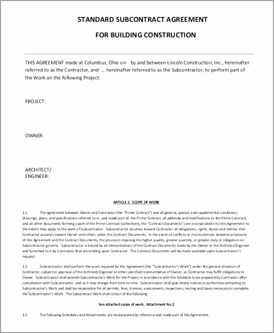 Standard Subcontractor Agreement For Building Construction uygtu
