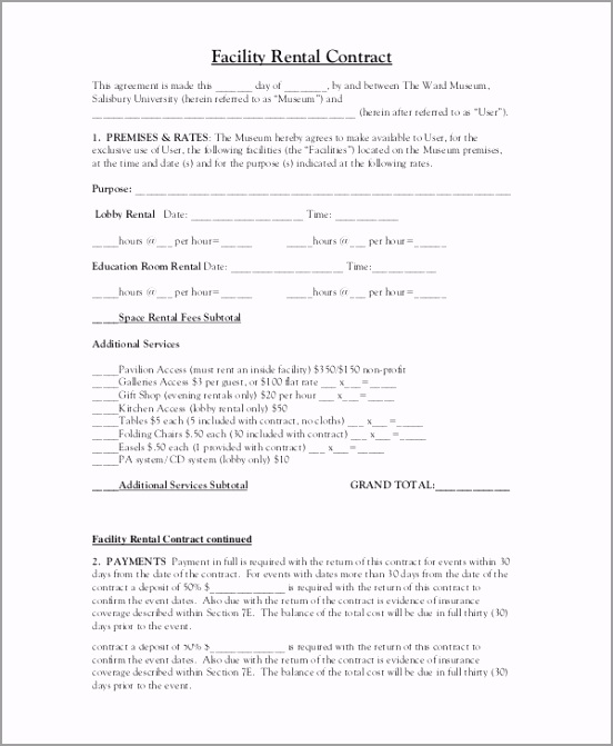 Facility Rental Contract Template iooio