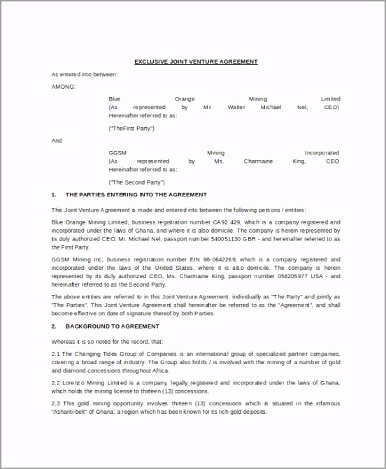 Exclusive Joint Venture Agreement Template In Word ioawu