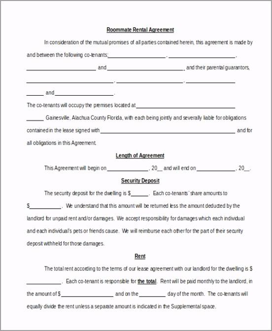 Roommate Rental Agreement ueipe