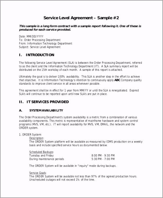 Sample Service Level Agreement ptsho