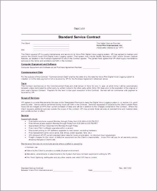 Standard Service Contract Sample owear
