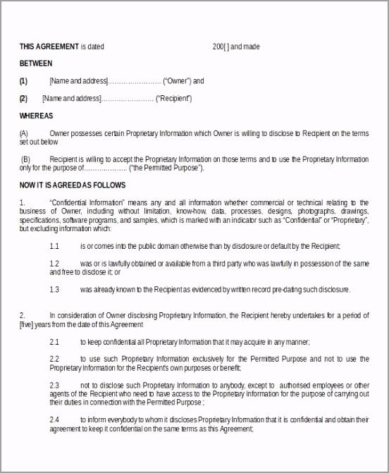 Standard Model Non Disclosure Agreement Form Doc tiayu