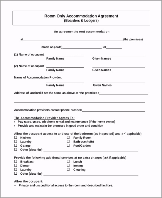 PDF Format Ac modation Room Rent Agreement Free Download tiiza