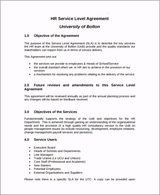 HR Service Level Agreement Template roaui