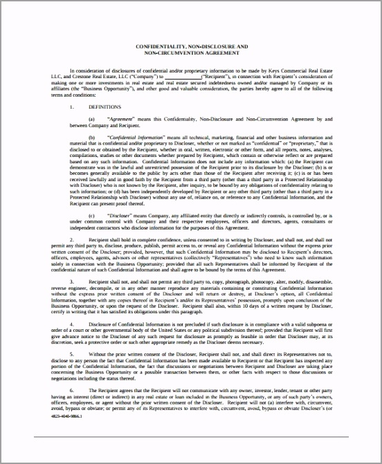 Real Estate Confidentiality Non Disclosure Agreement Template otrir